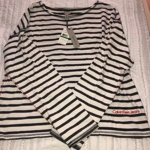 BRAND NEW brown/ white stripped long sleeve shirt